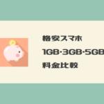 格安スマホ(格安SIM)通話SIM:1GB・3GB・5GB料金比較表