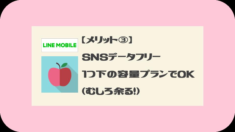 LINEモバイルのメリット③:SNSデータフリーによって一つしたの容量プランでOK