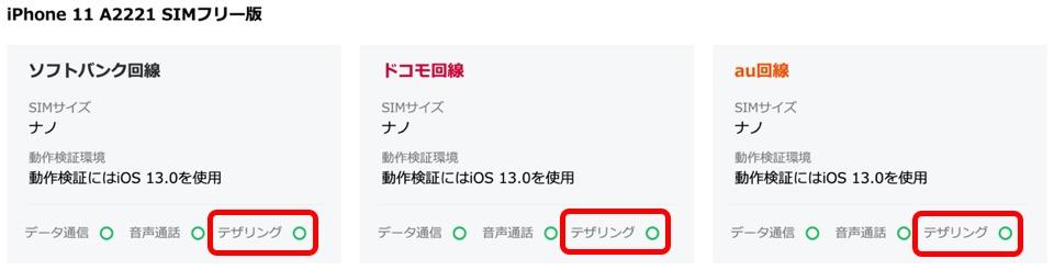 LINEモバイル動作確認済み端末検索ページ(iPhone11)