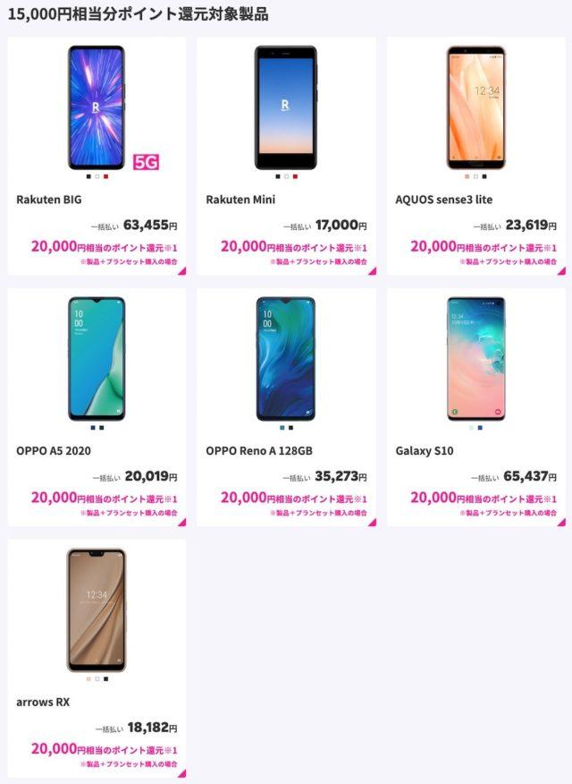 楽天モバイル15000ポイント対象製品