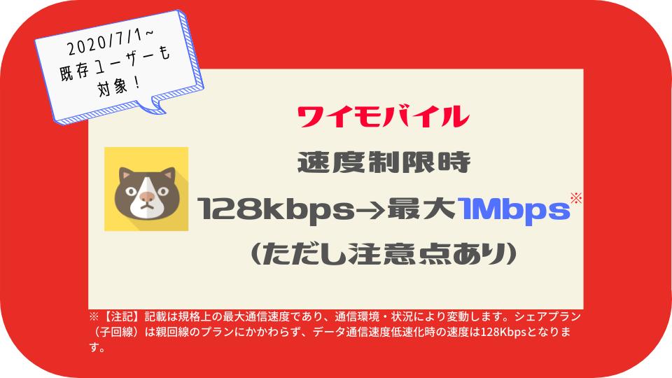 ワイモバイル最大1Mbps